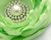 Green Flower Clip, Brooch Pin, with Rhinestone and Pearl Center