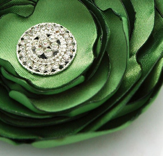 Green Flower Clip, Brooch Pin, Silky  with Rhinestones and Pearl Center