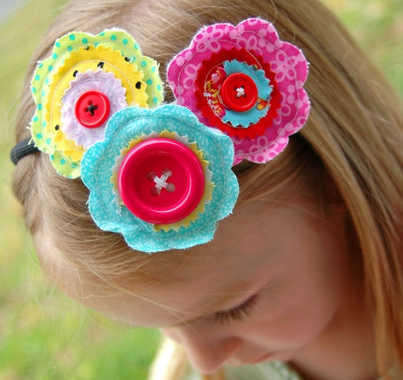 Reserved for Kelly - Fabric Flower Headband, Colorful, Buttons, Rainbow Fun