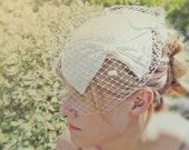 SALE - Adorn Head Piece - vintage bridal hat adorned with new birdcage dotted netting and layered bows - ivory