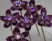 RESERVED -Nichole77  pretty purple origami flower cupcake toppers