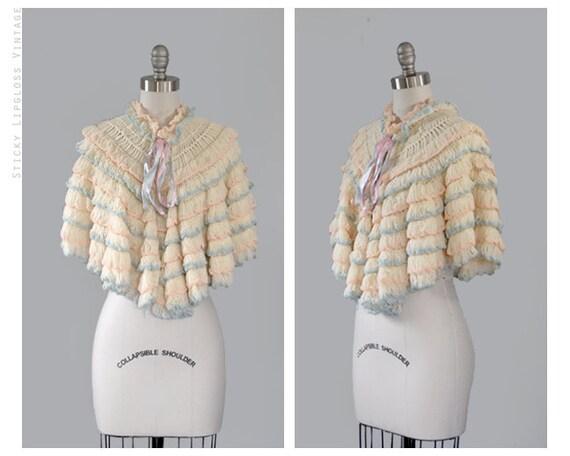 Reserved : 1960's poncho. vintage 60's cream jacket sweater. boho. pastel. ruffled. ivory ruffle poncho 60.