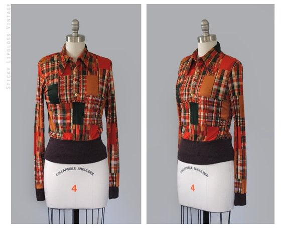 SALE: 1970's orange blouse. 70s plaid blouse. small s. patchwork print blouse 70. vintage.