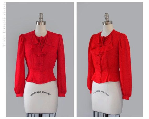 SALE : 1980's red blouse. vintage 80s secretary blouse. long sleeve. ruffle top. sheer blouse 80.