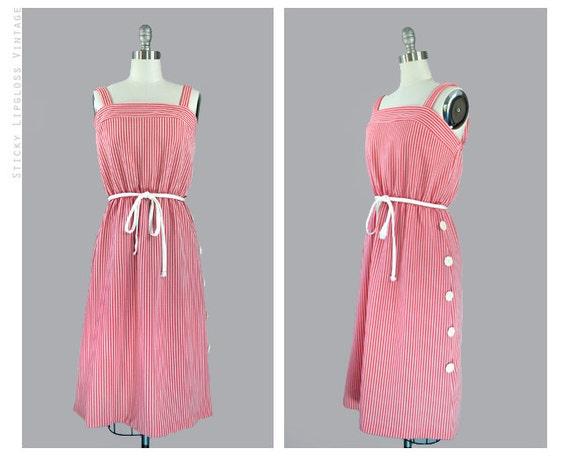 1970's red & white dress. vintage 70's sundress. summer. belt. sleeveless. striped dress 70.