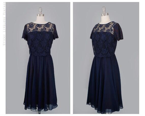 1960's navy blue dress. vintage 60's lace dress. floral lace. dark blue. illusion. chiffon dress 60.