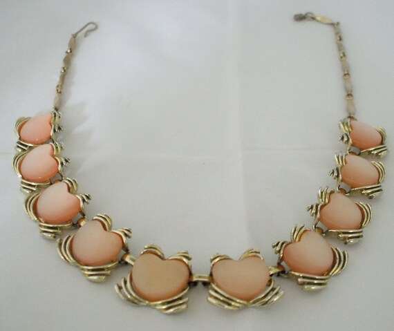 Peach colored thermoset necklace