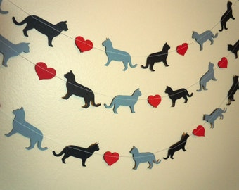 Cat Love Paper Garland - Valentine's Day Decor - Choose Your Colors