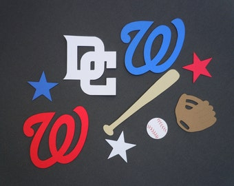 Washington Nationals Baseball Scrapbook Cutouts - 32 Piece Set