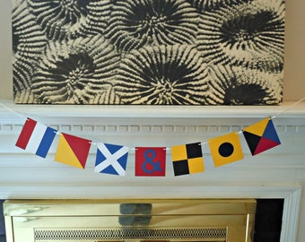 Custom Nautical Flag Paper Banner - Initials - Nautical Themed Wedding
