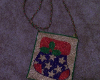 Christmas Beaded Stocking Purse