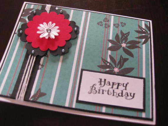 happy birthday card with orchids- free shipping