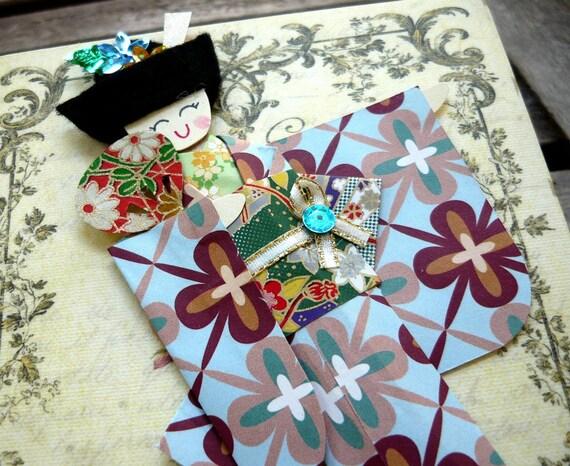 1pc -  Origami Japanese Geisha Bookmark Mint Aqua Retro Floral Kimono