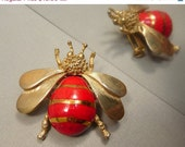 Flying Insect Bug Brooch w Red Stripes