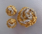 Castlecliff Two Tone Gold and Silver Leaves Brooch and Earrings Set