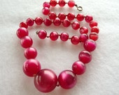 Raspberry Moonglow Bead Necklace - Graduated Pink Beads