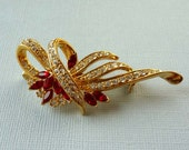 Ruby Red and Clear Pave Set Rhinestone Ribbon Brooch