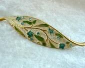 Blue Green Leaf Brooch - Enamel Signed BSK Pin