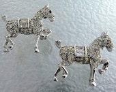 Vintage Crown Trifari Rhinestone Prancing Pony Horse Scatter Pins