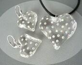 Kirk's Folly Transparent Rhinestone Heart Necklace & Earrings Set