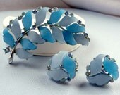 Vintage Blue Lucite Lisner Earrings and Brooch Demi Parure Set
