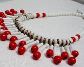 Cherries Ala - Creme - West Germany Red & White Beaded Bib Necklace