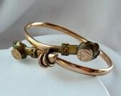 Antique Rose Gold Etruscan Bracelet - Ornate Bangle
