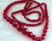 Vintage Red Faceted Glass Beads Necklace - Circa 1930's