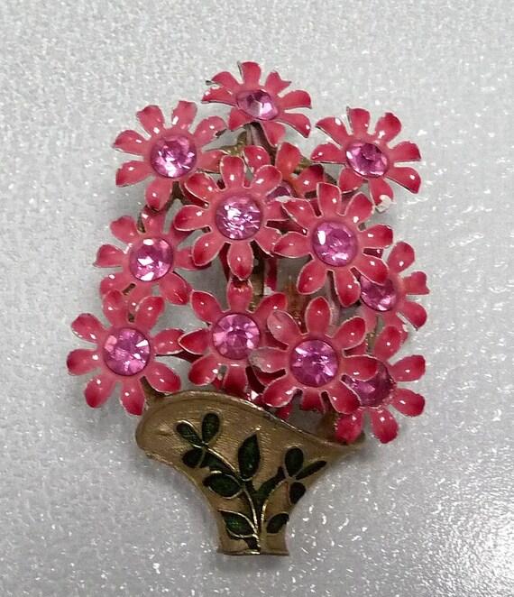 Vintage Basket Brooch of Posies in Enamel Pink