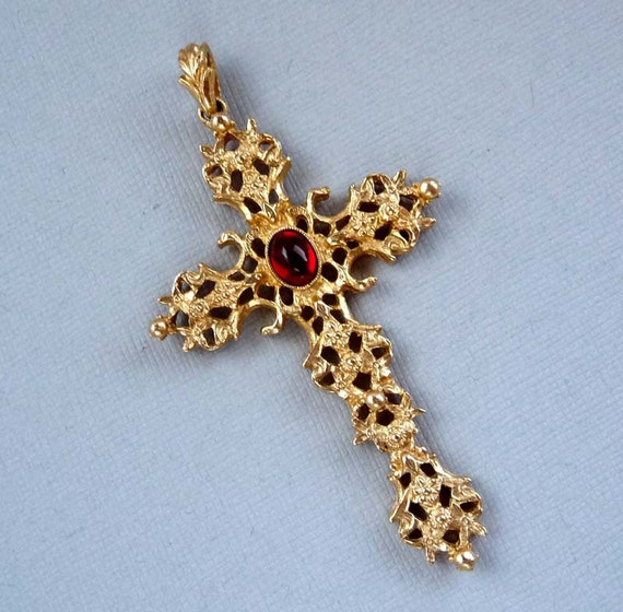 HUGE Avon Cross Repousse Style Pendant with Ruby Red Cabochon