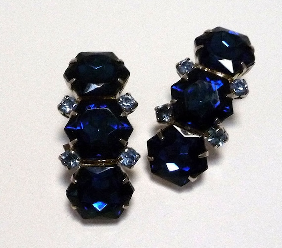 Vintage Blue Rhinestone Clip on Earrings