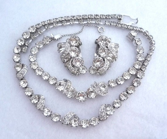 Eisenberg Swoosh Rhinestone Necklace Bracelet & Earring Set - Brides Wedding Parure