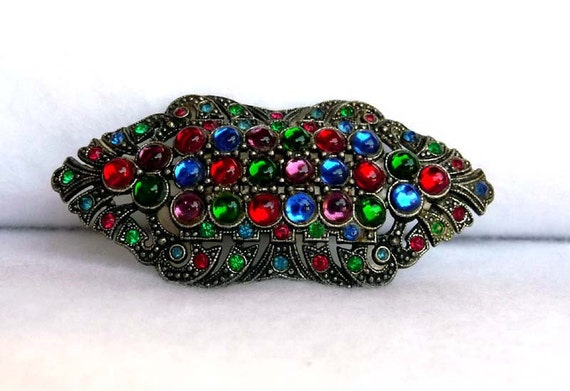 Multi Colored Art Deco Brooch