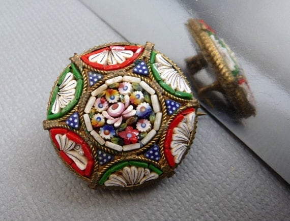 Star Mosaic Brooch in Red, White, Blue and Green