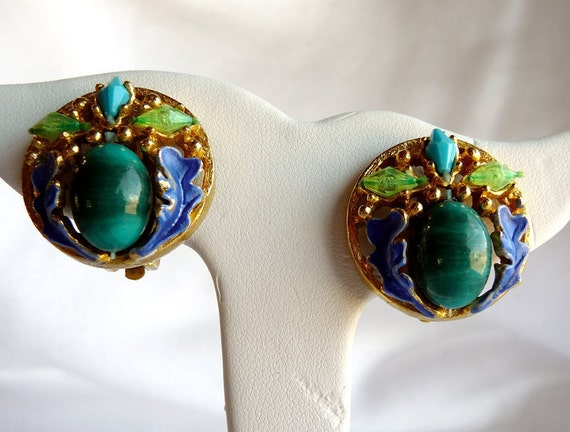 Blue & Green Leaf Earrings - Vintage clip ons