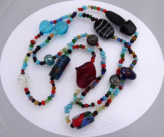 Pop ART Glass Beads in Random - Necklace