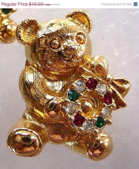 ON SALE Christmas Teddy Bear Scatter Pins w Rhinestone Wreath