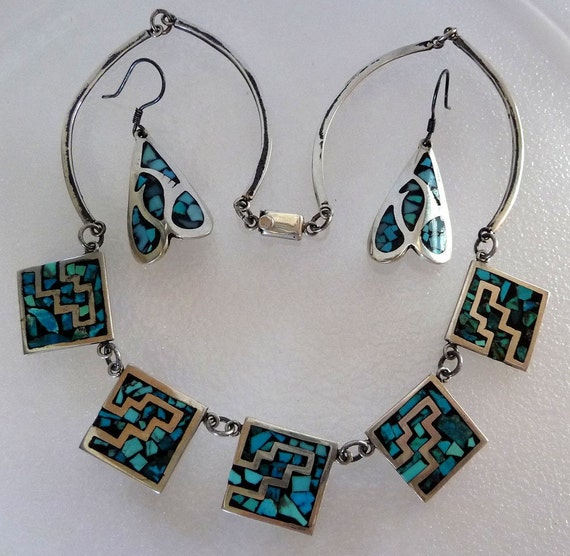 Reserved for jaguara77  Sterling Silver & Turquoise Necklace and Earring Set