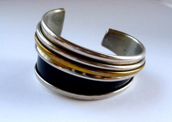 Silver Black Brass Modernist Cuff Bracelet - Abstract Geometric