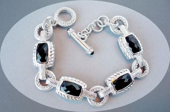 Vintage Judith Ripka Sterling Silver & Onyx Bracelet