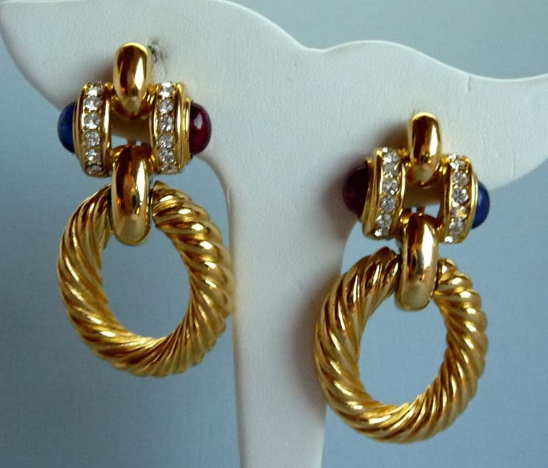 Vintage Givenchy Door Knocker Earrings W Rhinestones