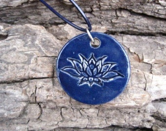 Blue Lotus flower necklace