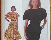 Vintage 80's Cathy Hardwick Easy to Sew Dress in 2 Lengths, Flutter Sleeves, Simplicity 8055 Sewing Pattern Size 10
