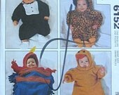 RARE Babies' Infant's Halloween Costumes, Fairy, Pirate, Pumpkin, Cat, Duck, Dalmatian, Tuxedo, McCall's 6152 Pattern UNCUT NB to Med