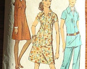 Vintage 70's Mod Misses' Dress or Tunic and Pants, Detachable Collar and Cuffs Simplicity 8869 Sewing Pattern Size 18