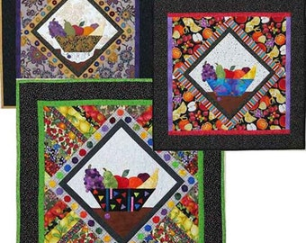 Fruit Punch Wallhanging Quilt Pattern by Just Imagine Designs, Fruit Bowl, Applique, Yo-Yos