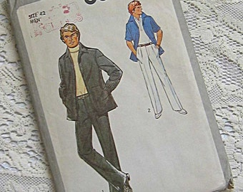 Vintage 70's Men's Pants and Jacket Simplicity 8899 Sewing Pattern UNCUT Size 42