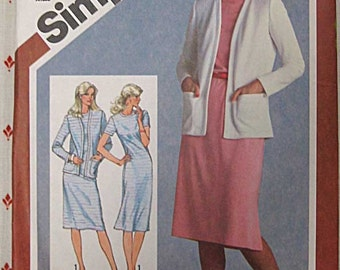 Vintage 80's Simplicity 9832 Pattern UNCUT Misses' Slim Fitting Dress and Cardigan Jacket, Sizes 8, 10, 12