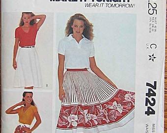Vintage 80's Misses' Circular Skirt, Semi-circular Skirt, McCall's 7424 Sewing Pattern UNCUT Size 12