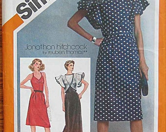 RARE Vintage 80's Jonathan Hitchcock Misses' Fitted Dress, Gown and Flutter Sleeve Bolero Jacket, Simplicity 9863 Pattern UNCUT, Size 10